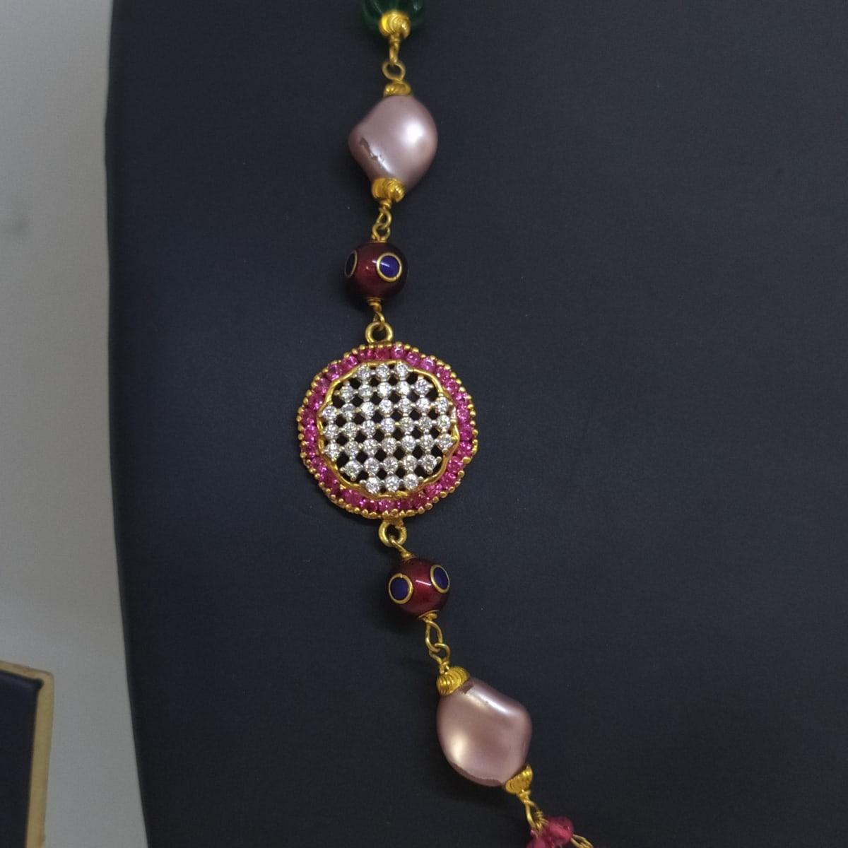 Tricolor Stone And Cz Chain