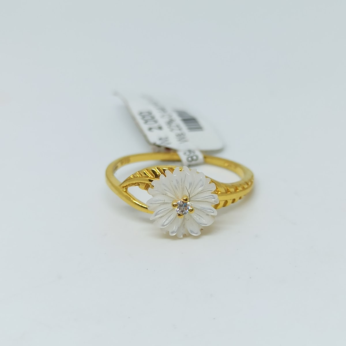 Sunflower Cz Pearl Ring