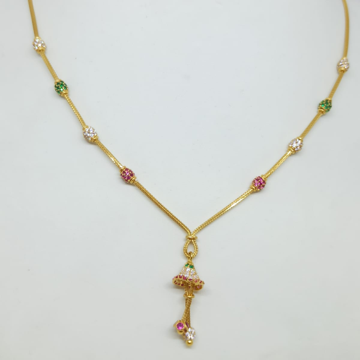 Colorstone Cz Bell Chain Necklace