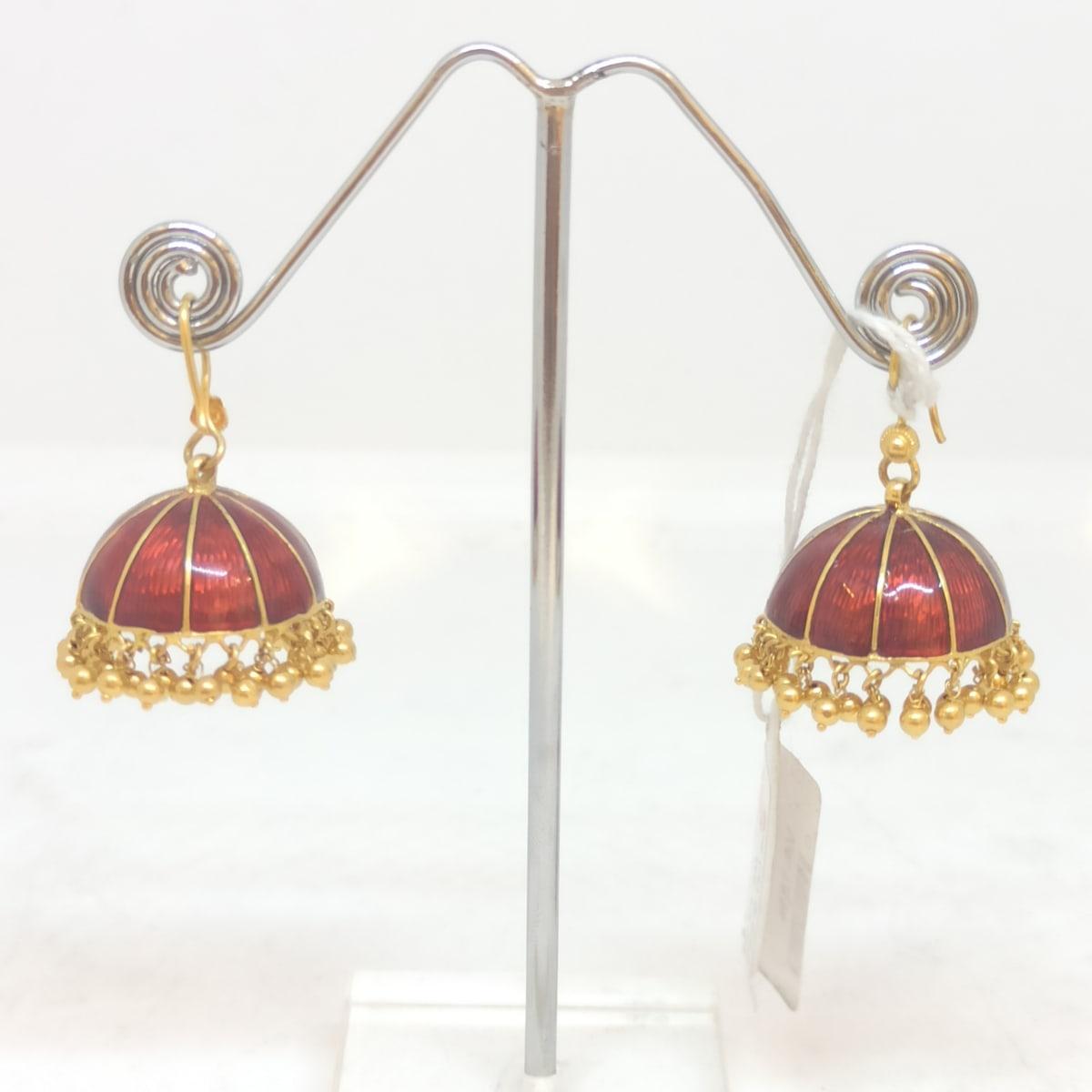 Red Enamel Gold Jhumka