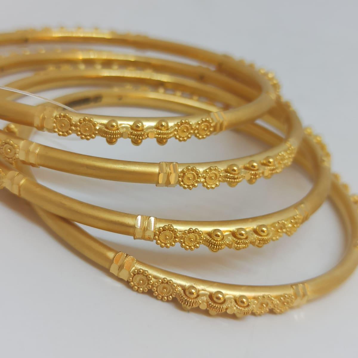 Bead Floral Plain Gold Bangles