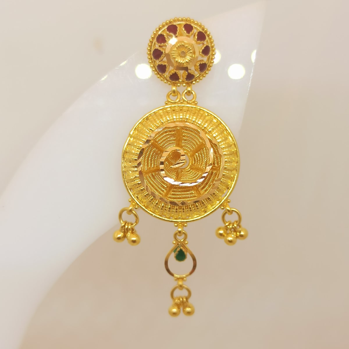 Red Stone With Flower Jhumka