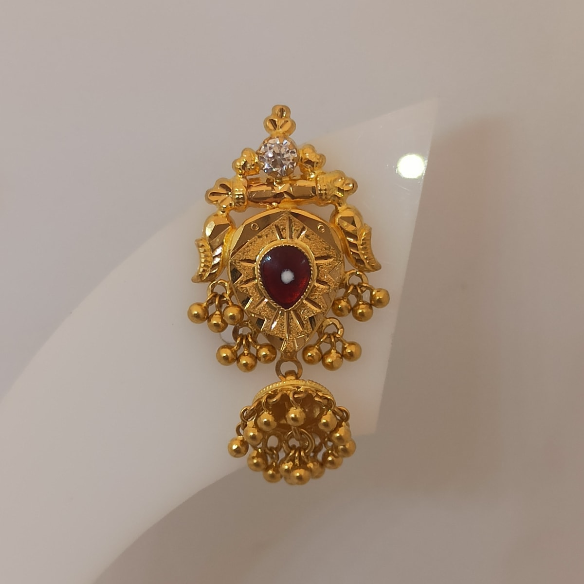 Red Stone With Cz Stud
