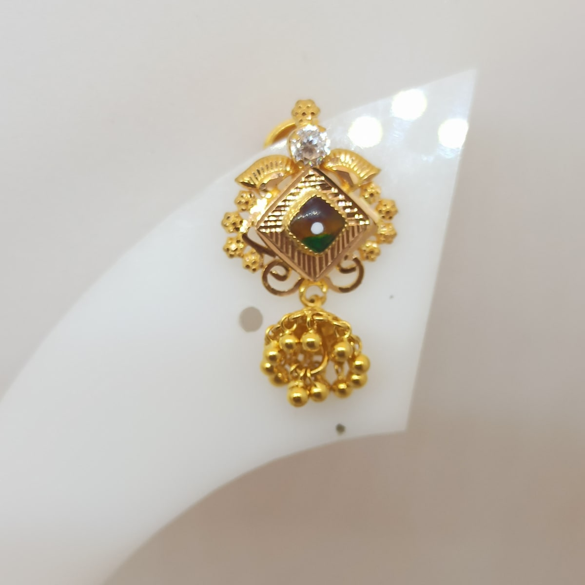 Red Stone With Hanging Balls Earring