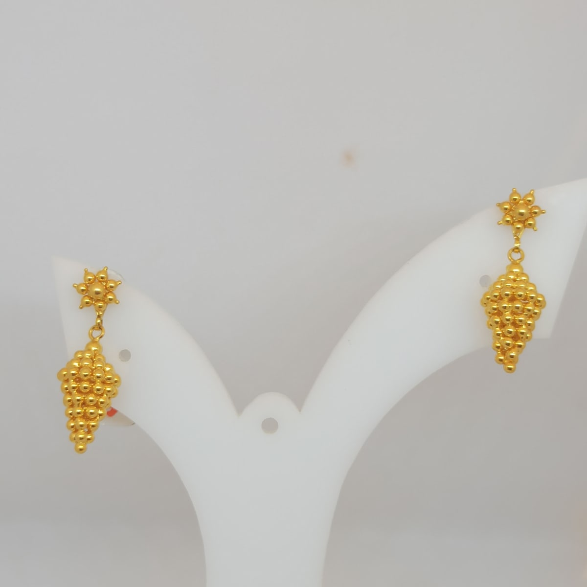Flower With Ball Hanging Gold Earring