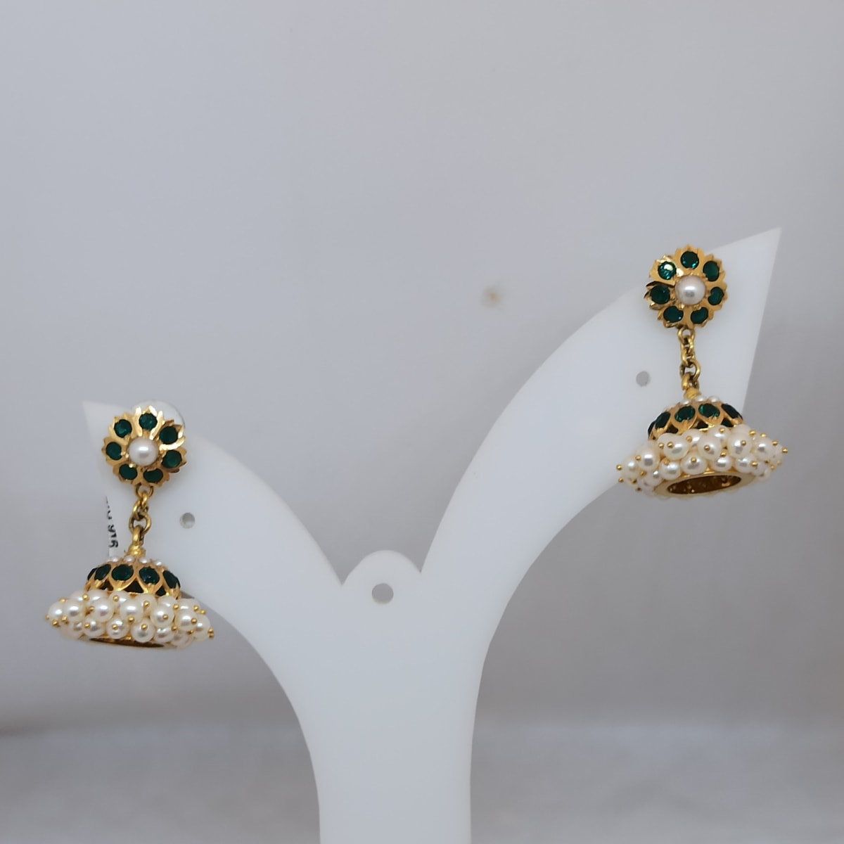 Moti And Green Stone Jhumka