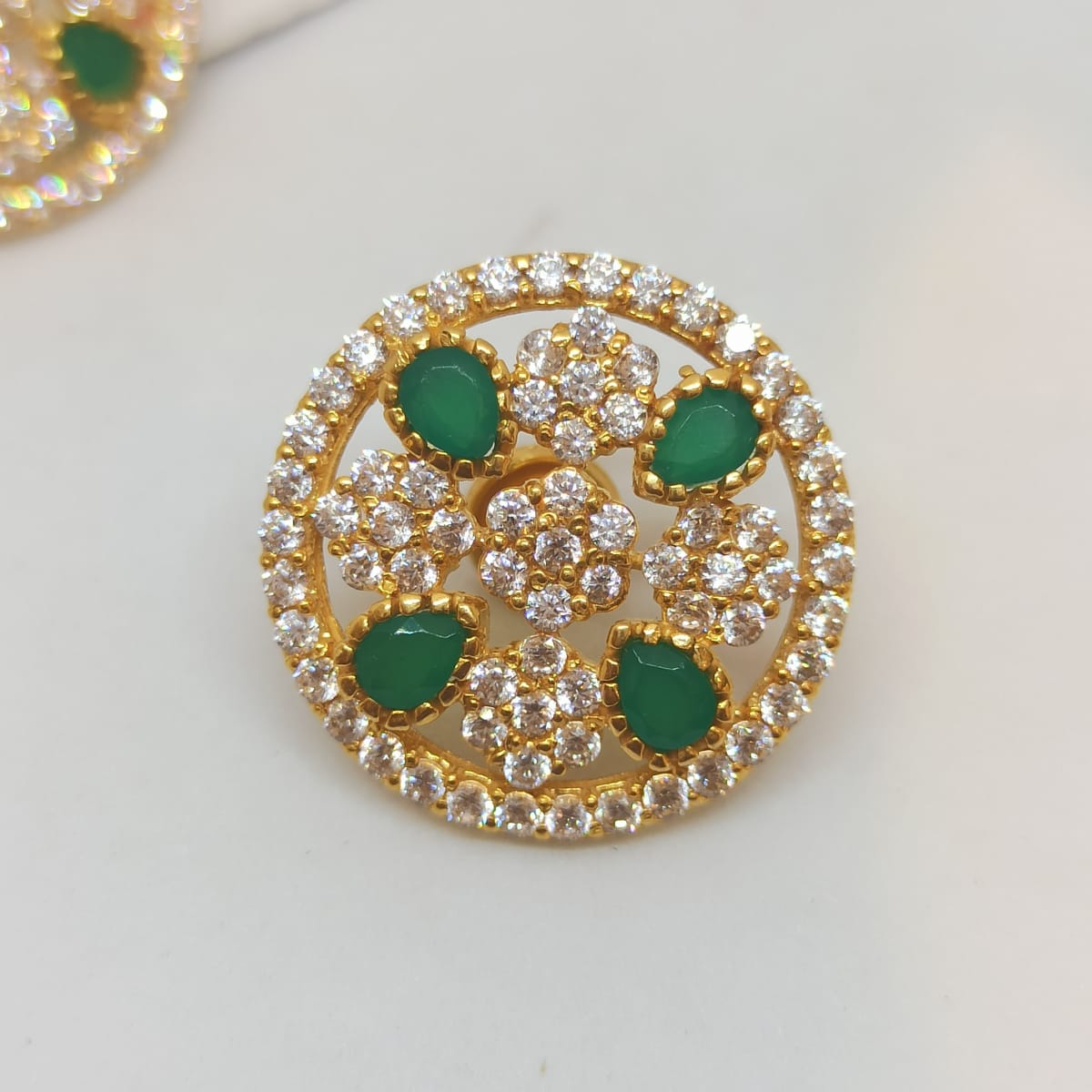 Green Stone And Cz Stud