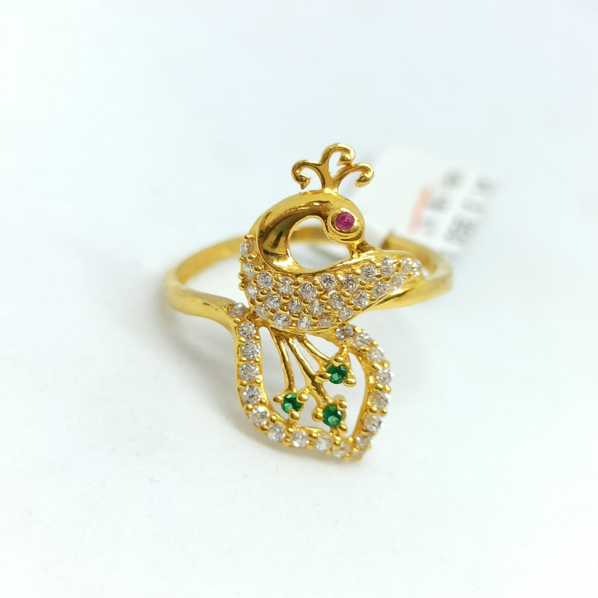 Peacock Cz Colorstone Ring 2