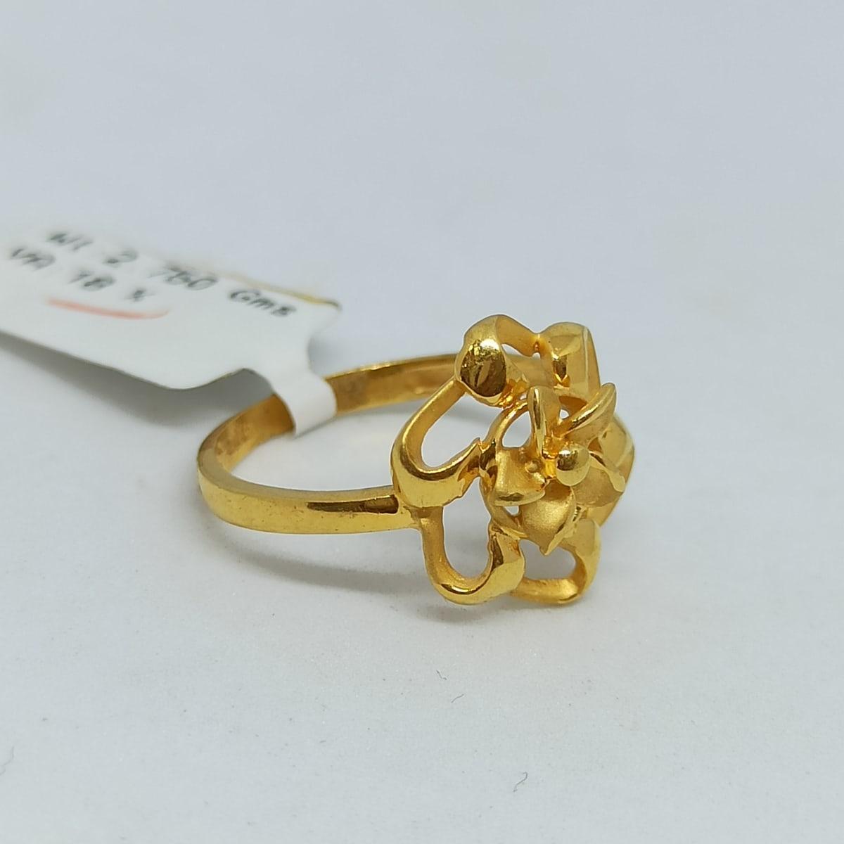 Floral Plain Gold Ring