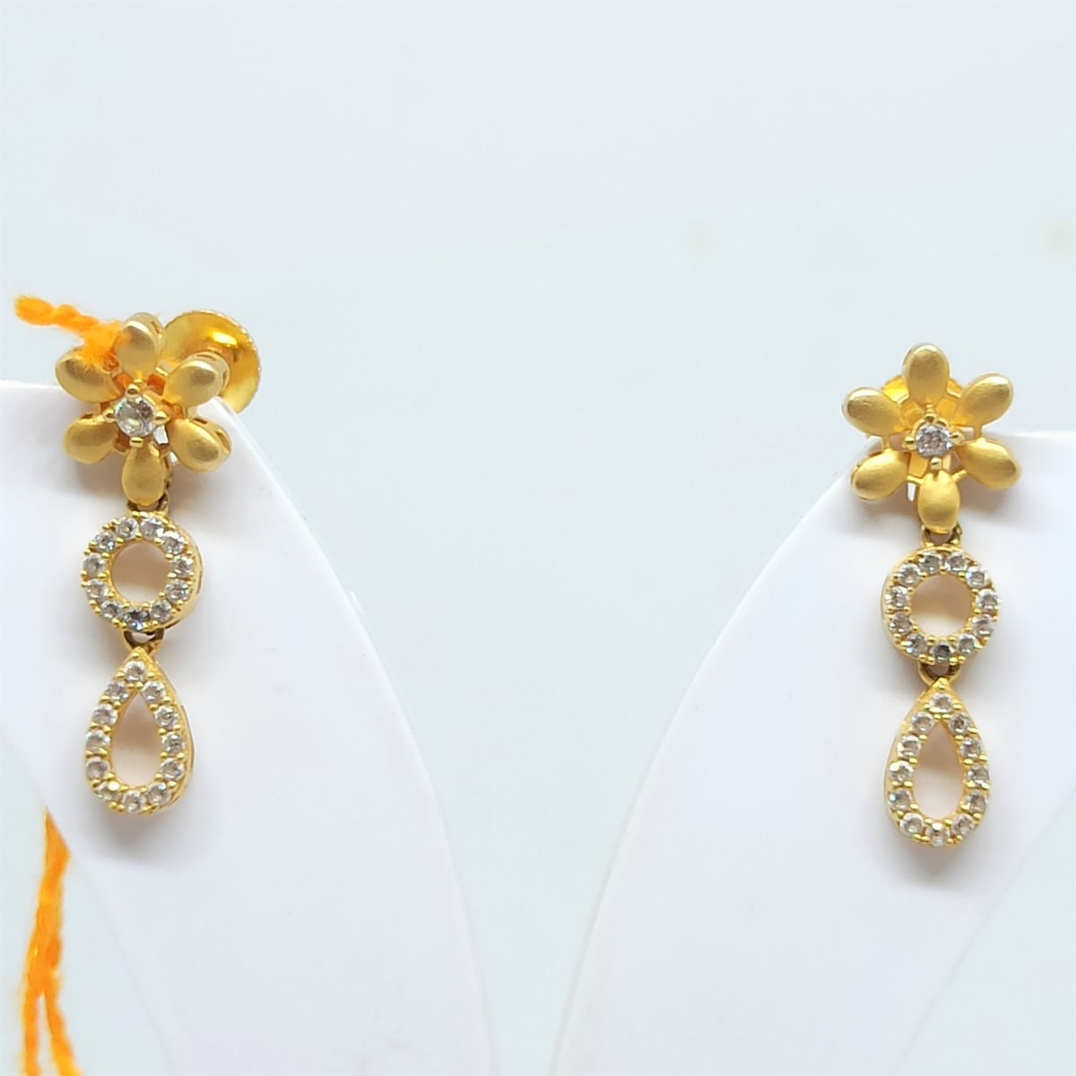 Floral Cz Drop Earrings