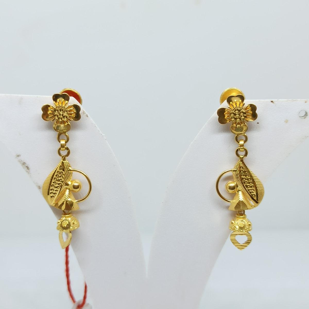 Floral Plain Gold Earrings