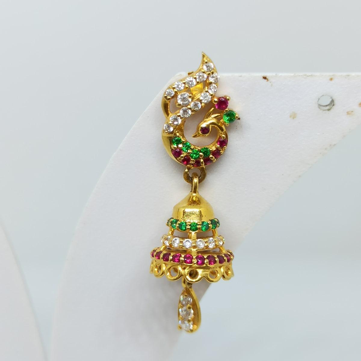 Peacock Colorstone Cz Earrings