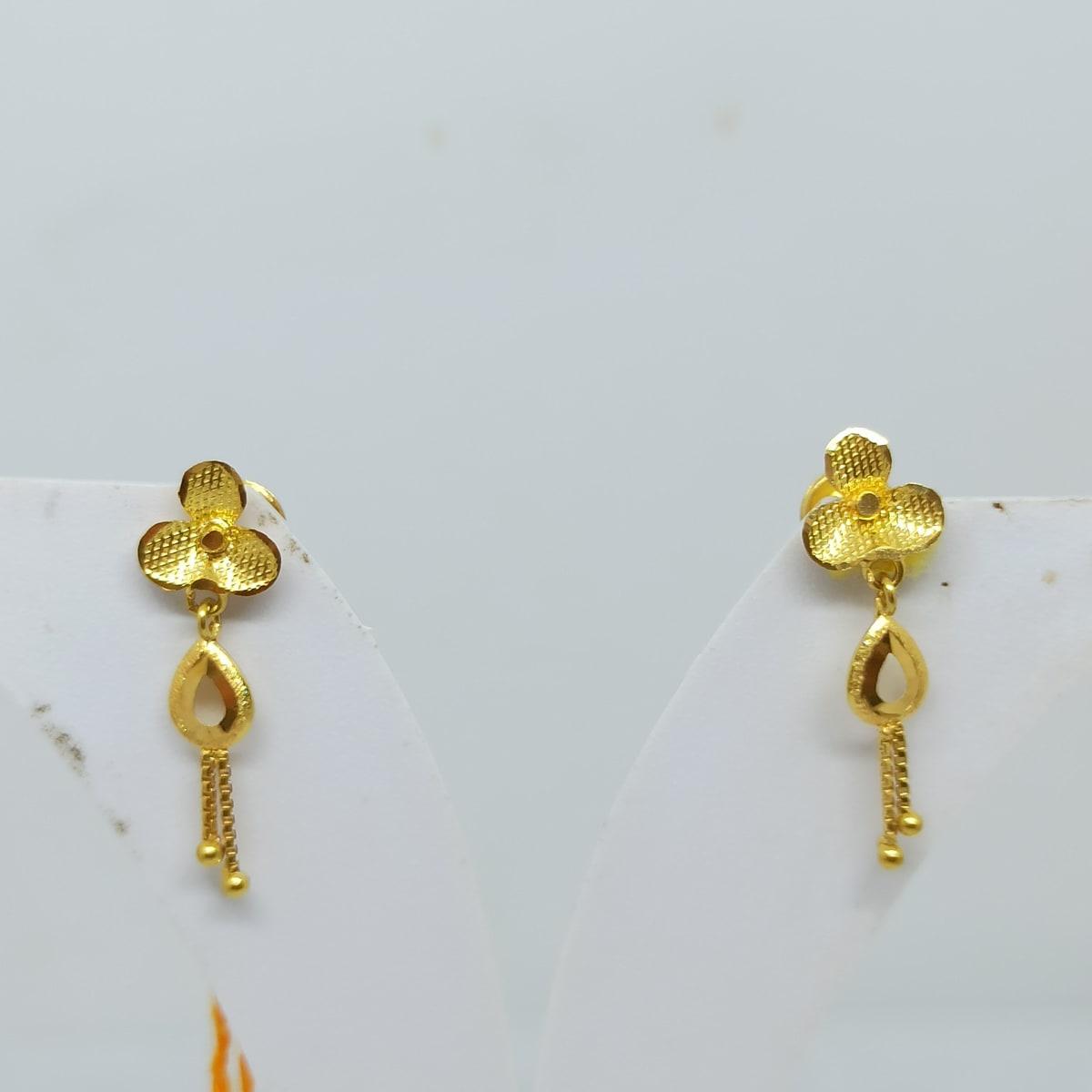 Triplets Gold Earrings