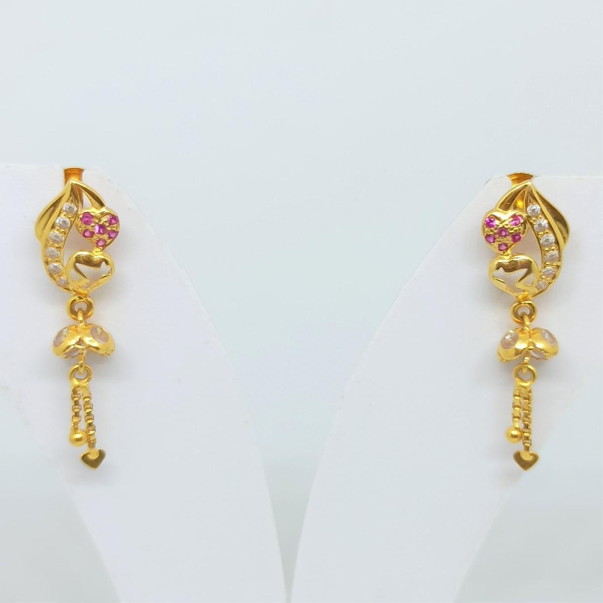 Heart Waves Cz Earrings
