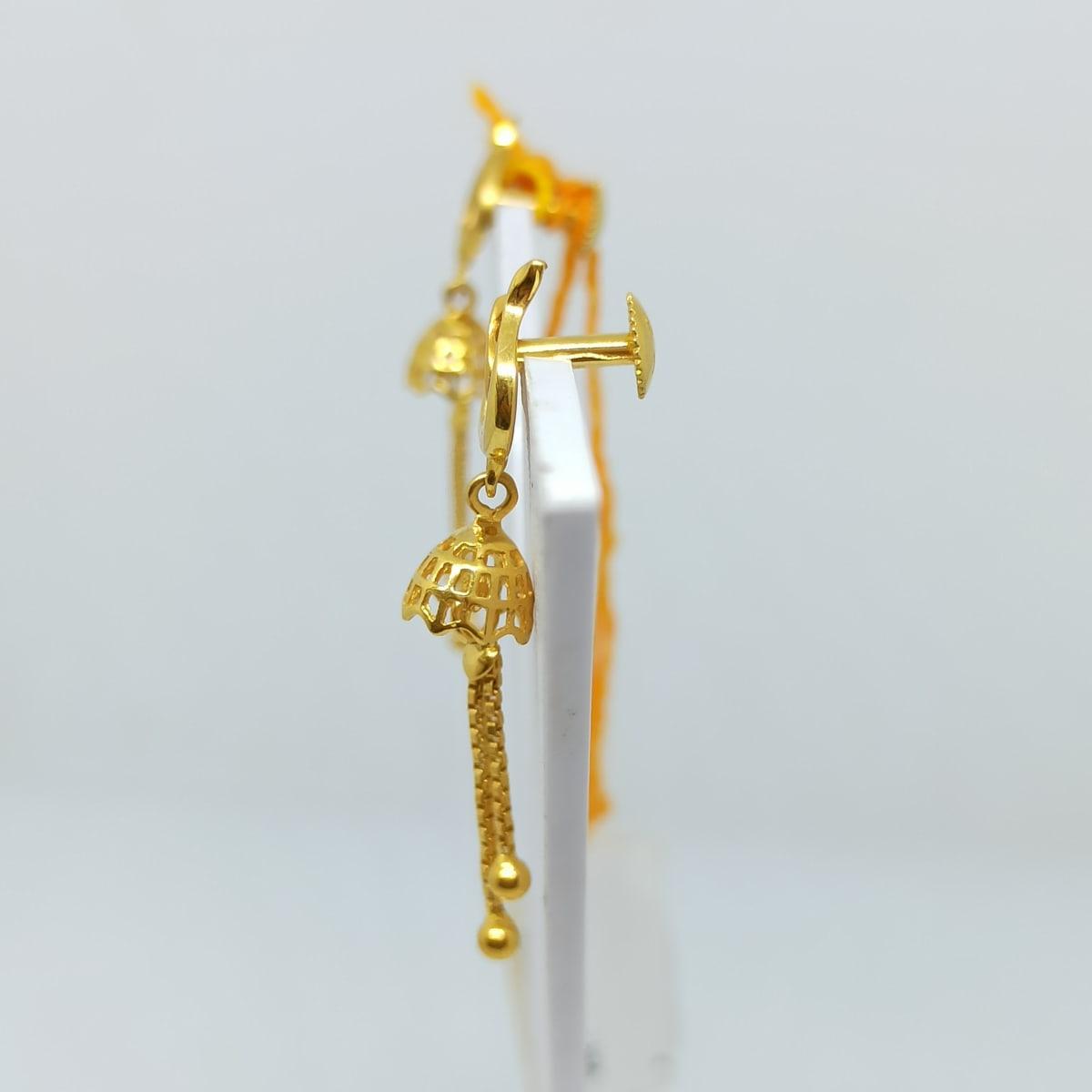 Leaf Plain Gold Drop Earrings