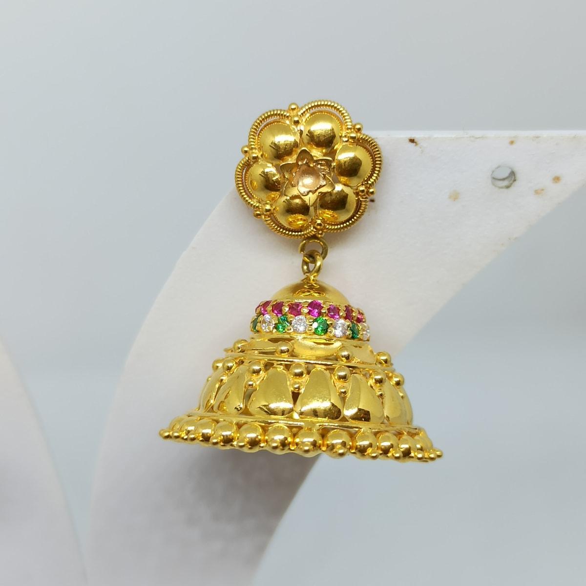 Gold Colorstone Cz Jhumka