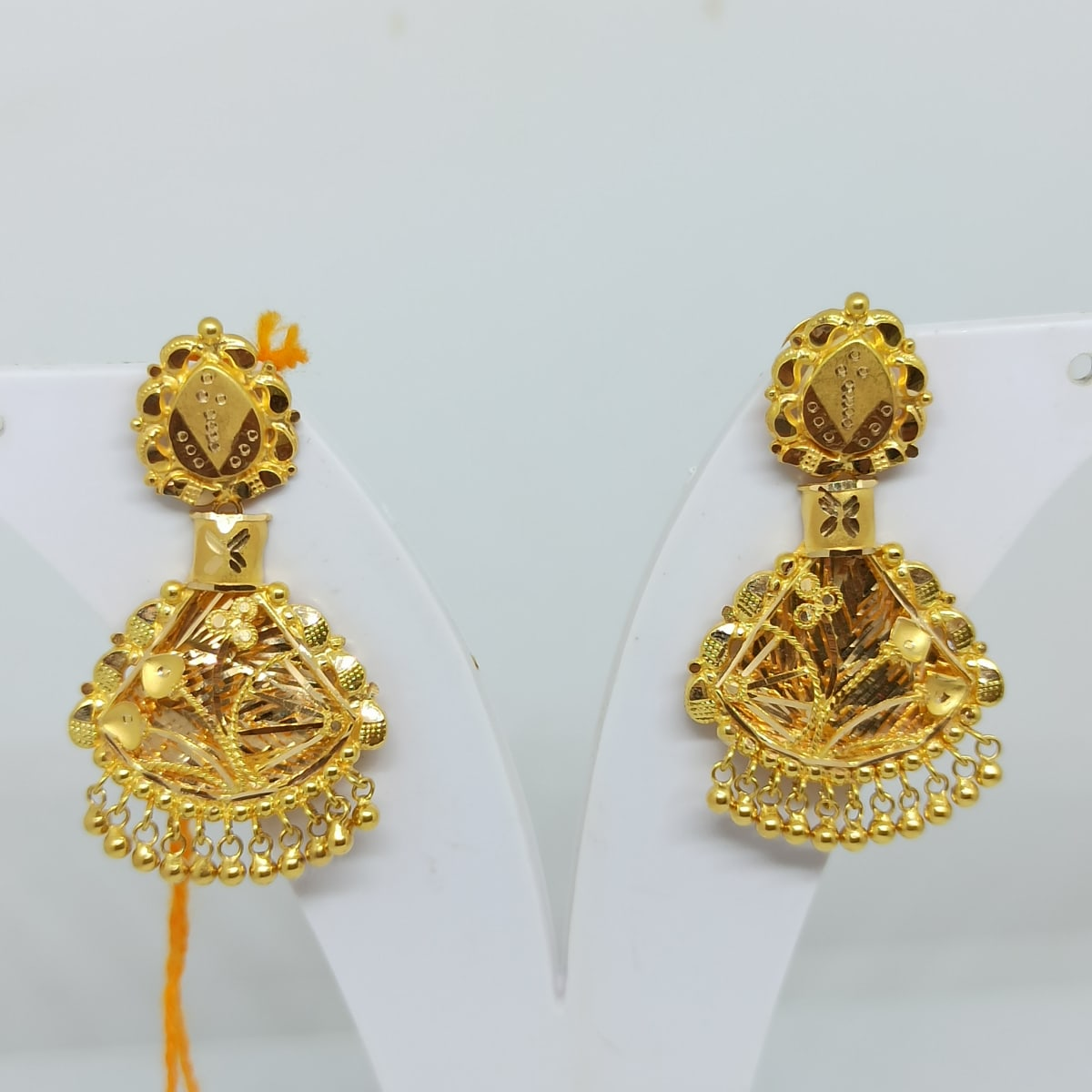 Plain Gold Jali Earrings