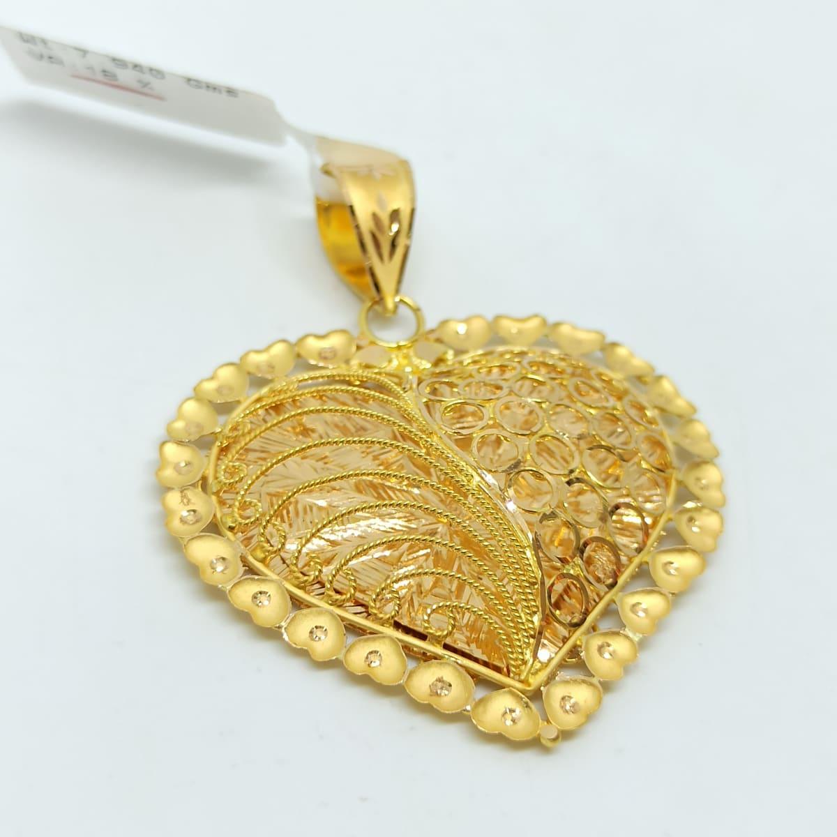 Heart Plain Gold Jali Pendant