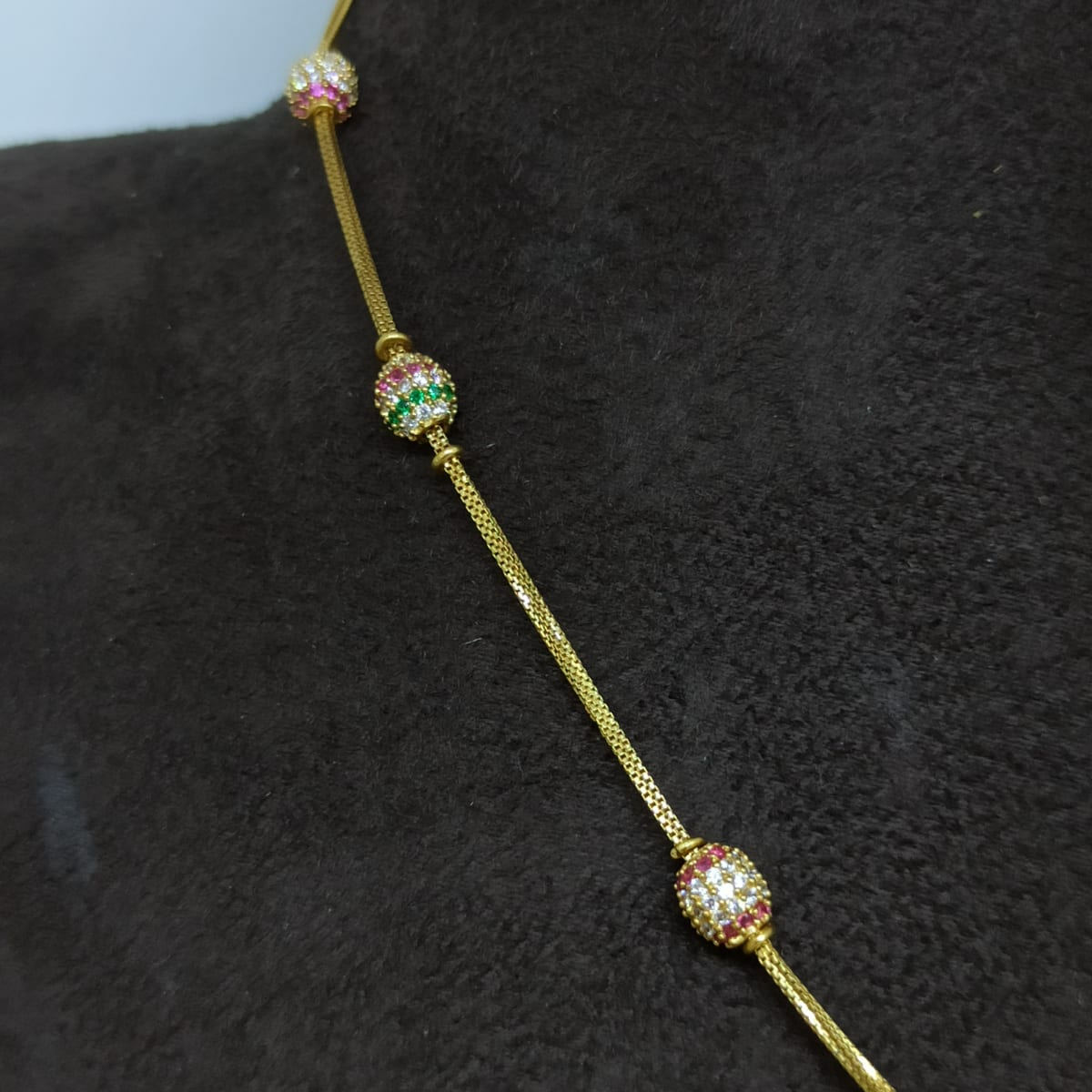 Bead Chain Cz Necklace