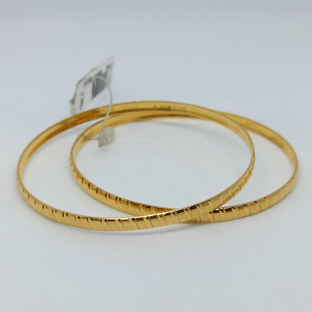 Slash Plain Gold Bangles