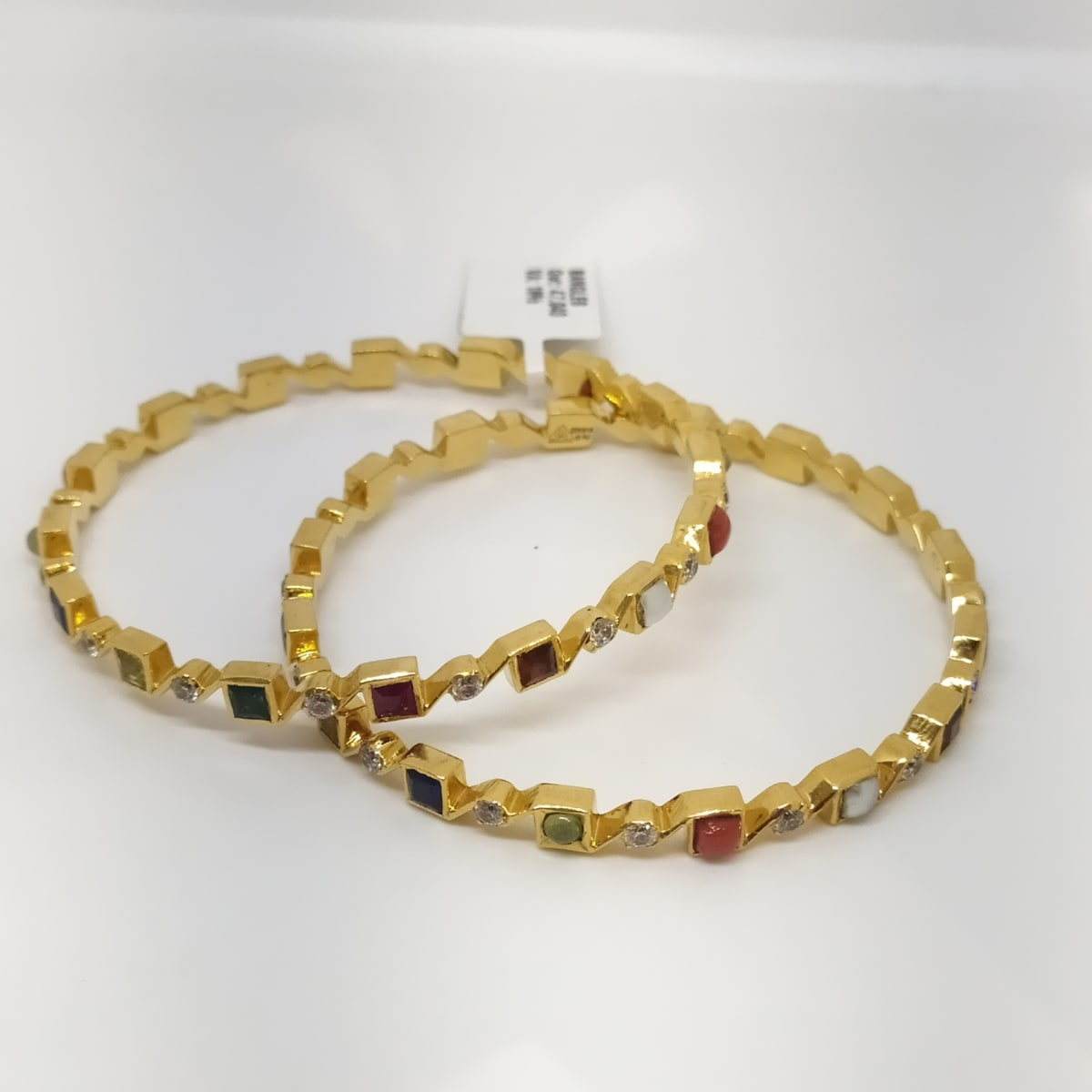 Stones And Cz Gold Bangle