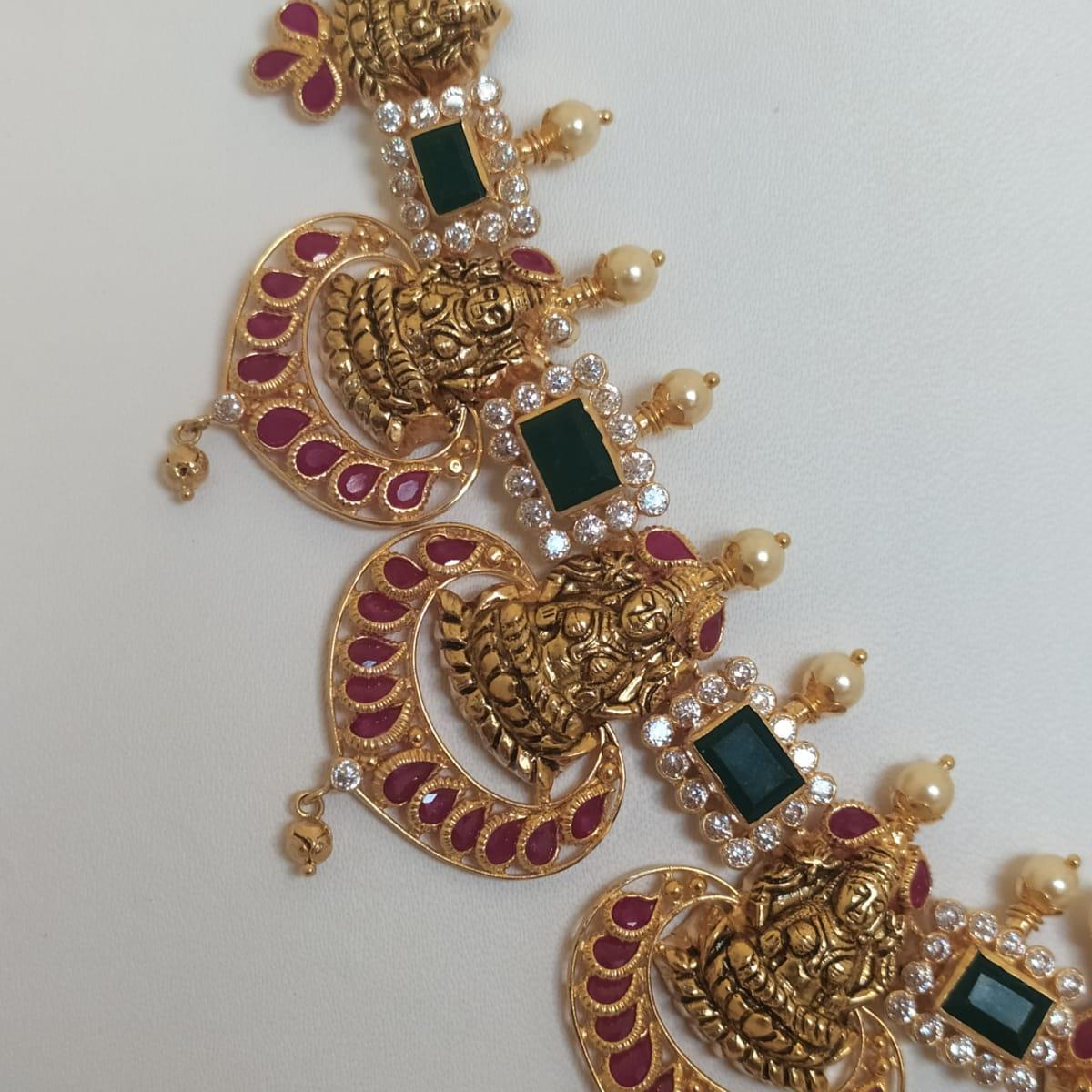 Green Emerald Lakshmi Antique Necklace
