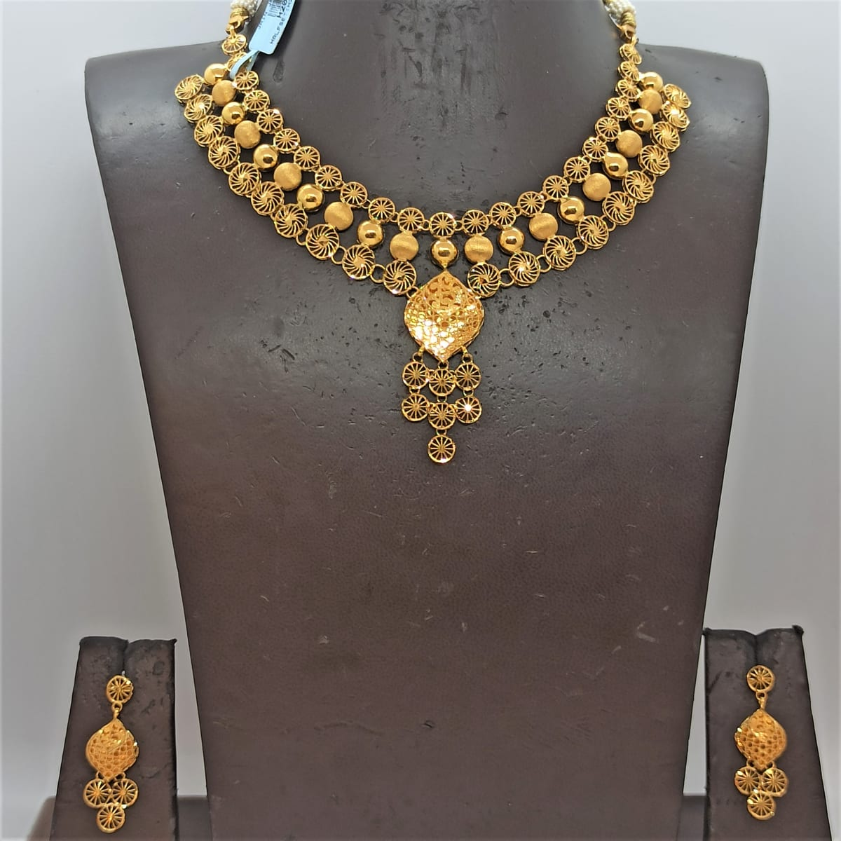 Round Jali Bead Necklace Earrings Set