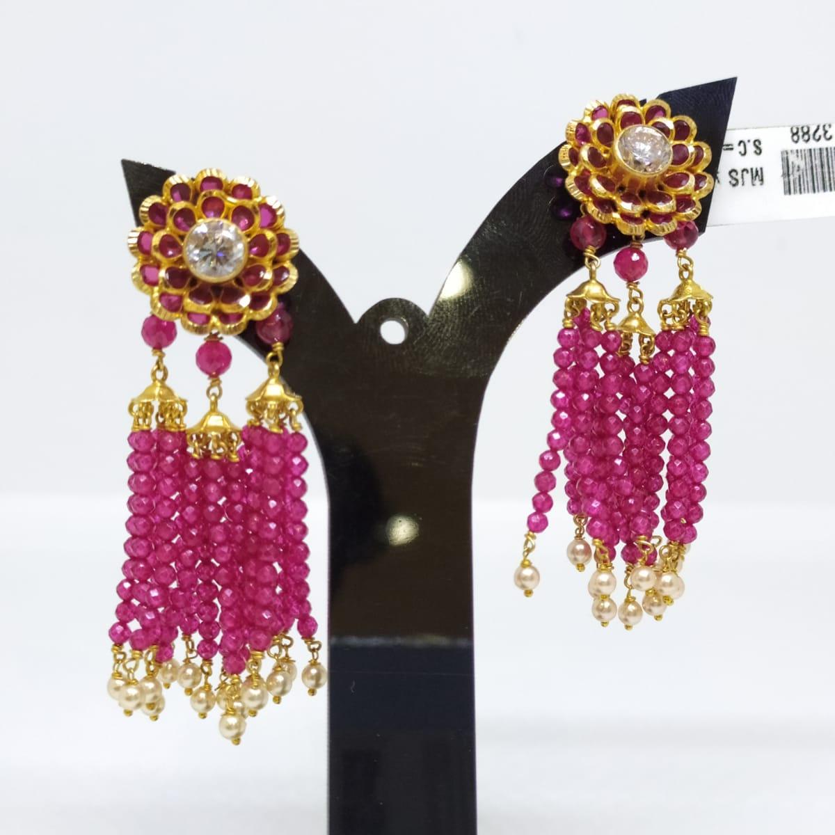 Pink Stone Jhumka