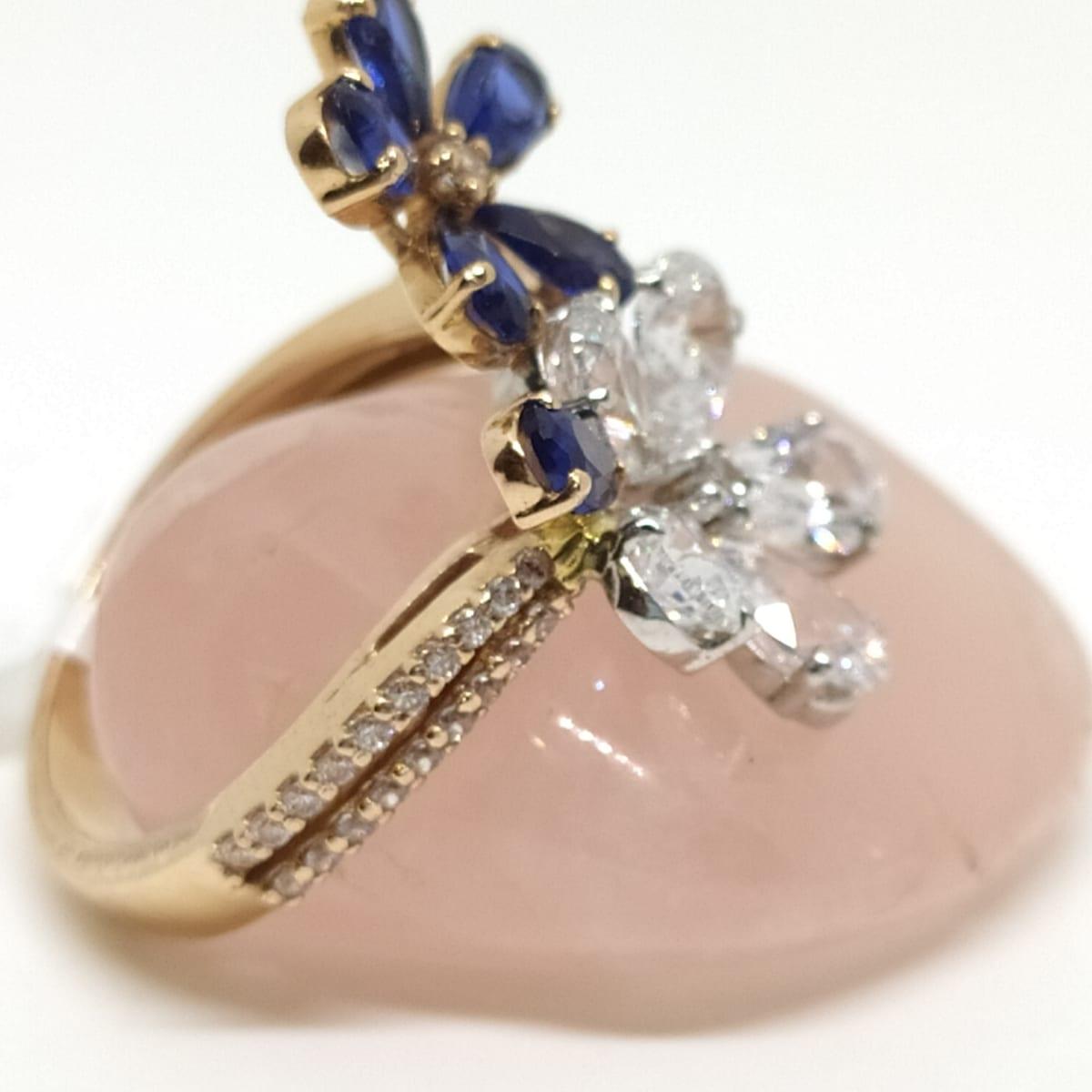Blue Stone Flower Ring