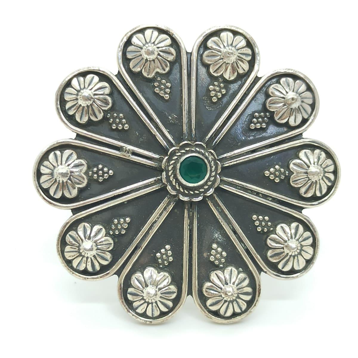 Floral Plain Oxidized Ring