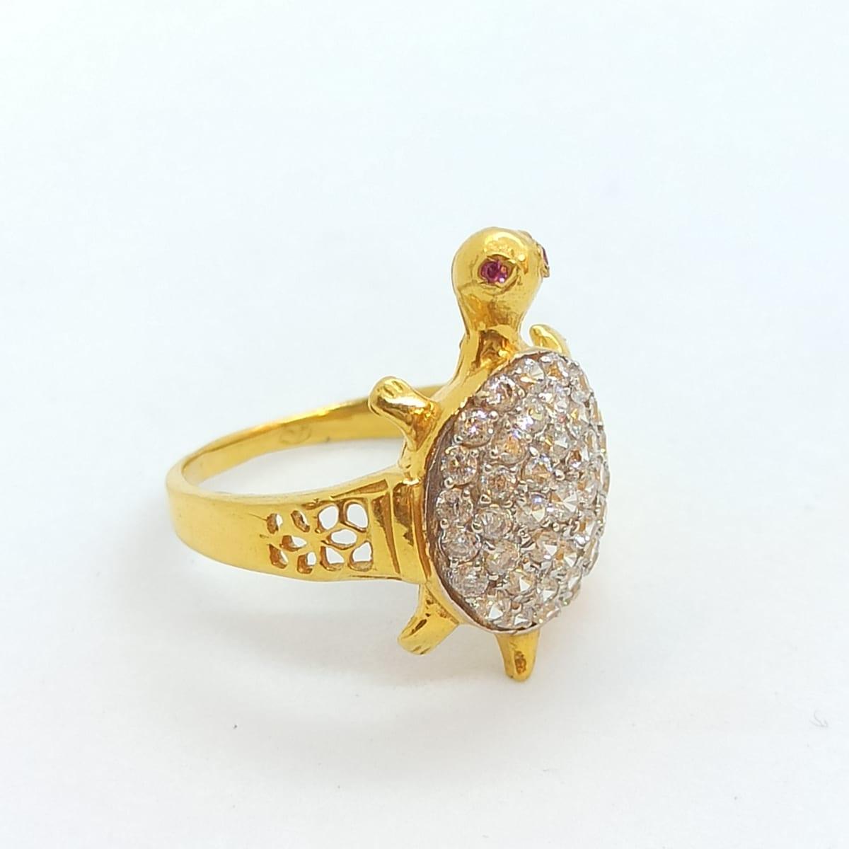 Turtle Cz Ring