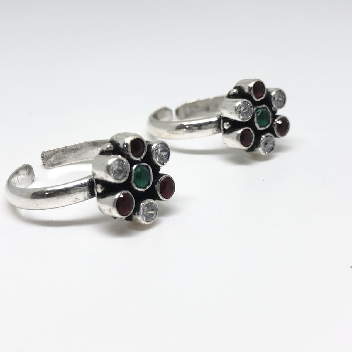 Cz Stone Toe Ring