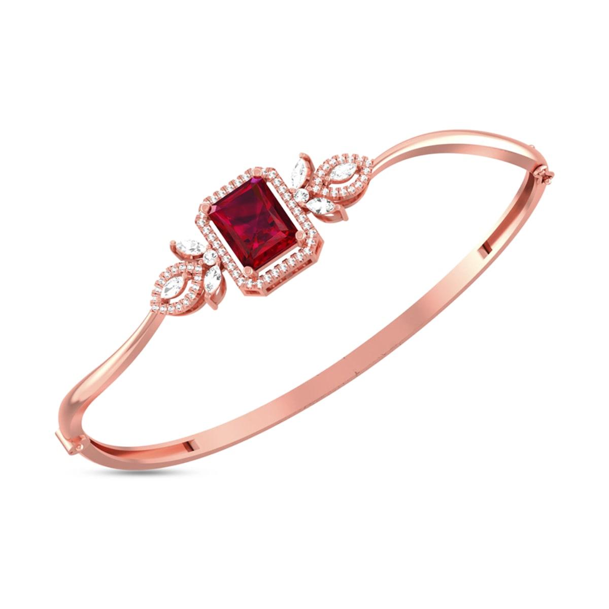 Red Stone Real Diamond Bracelets