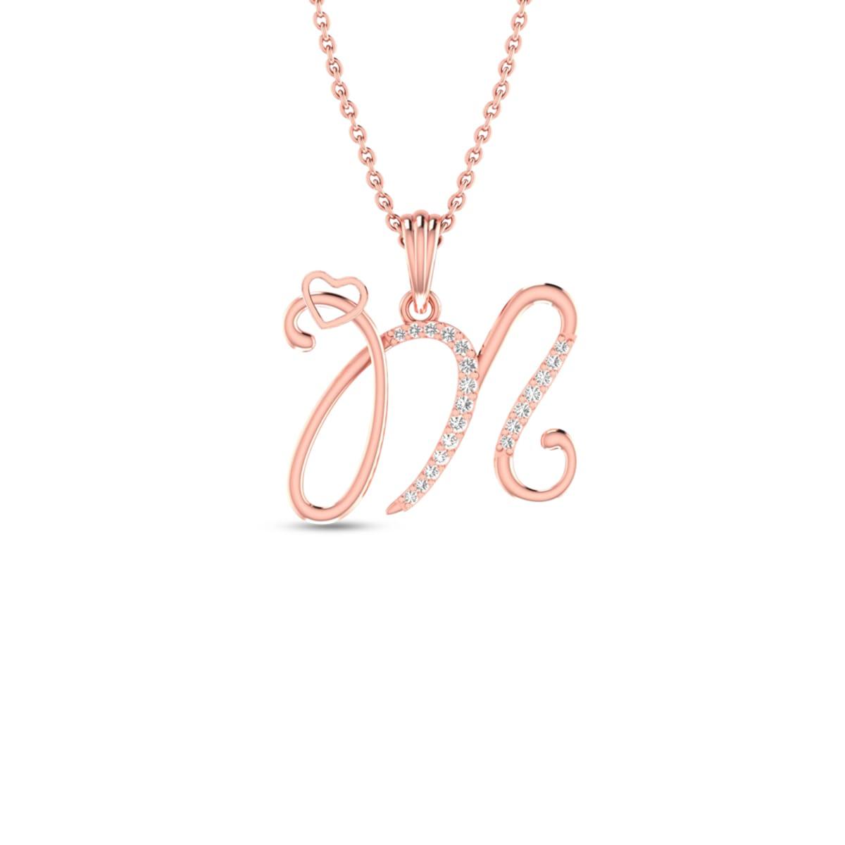 M Letter Real Diamond Pendant