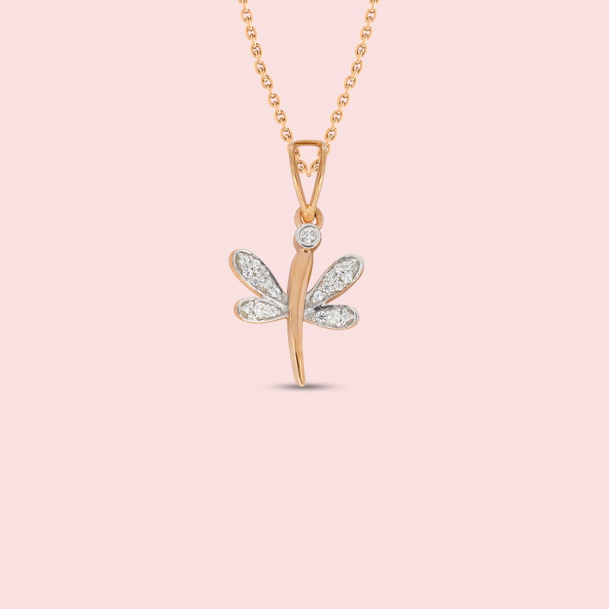 Butterfly Rose Gold Real Diamond Pendant