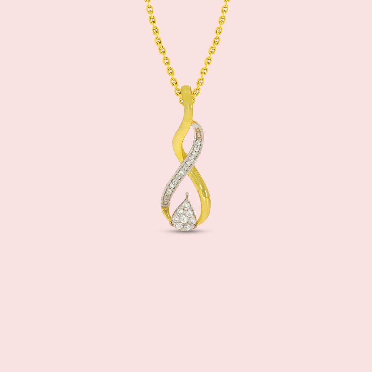 Twist Shape Real Diamond Pendant