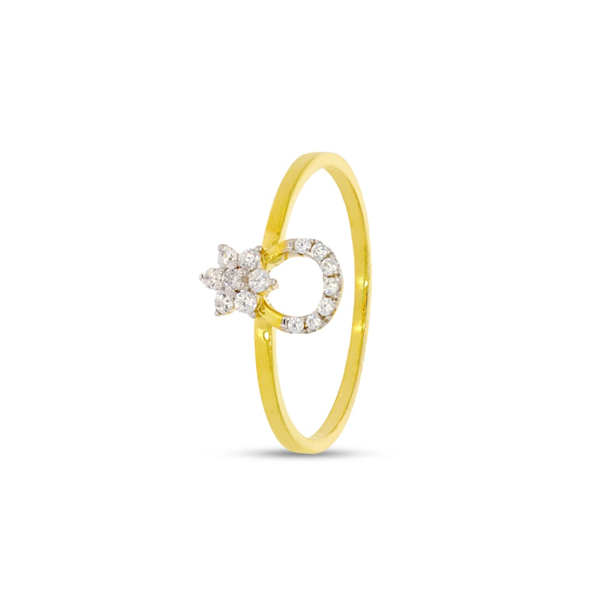 Flower Shape With 14pcs Real Diamond Ring