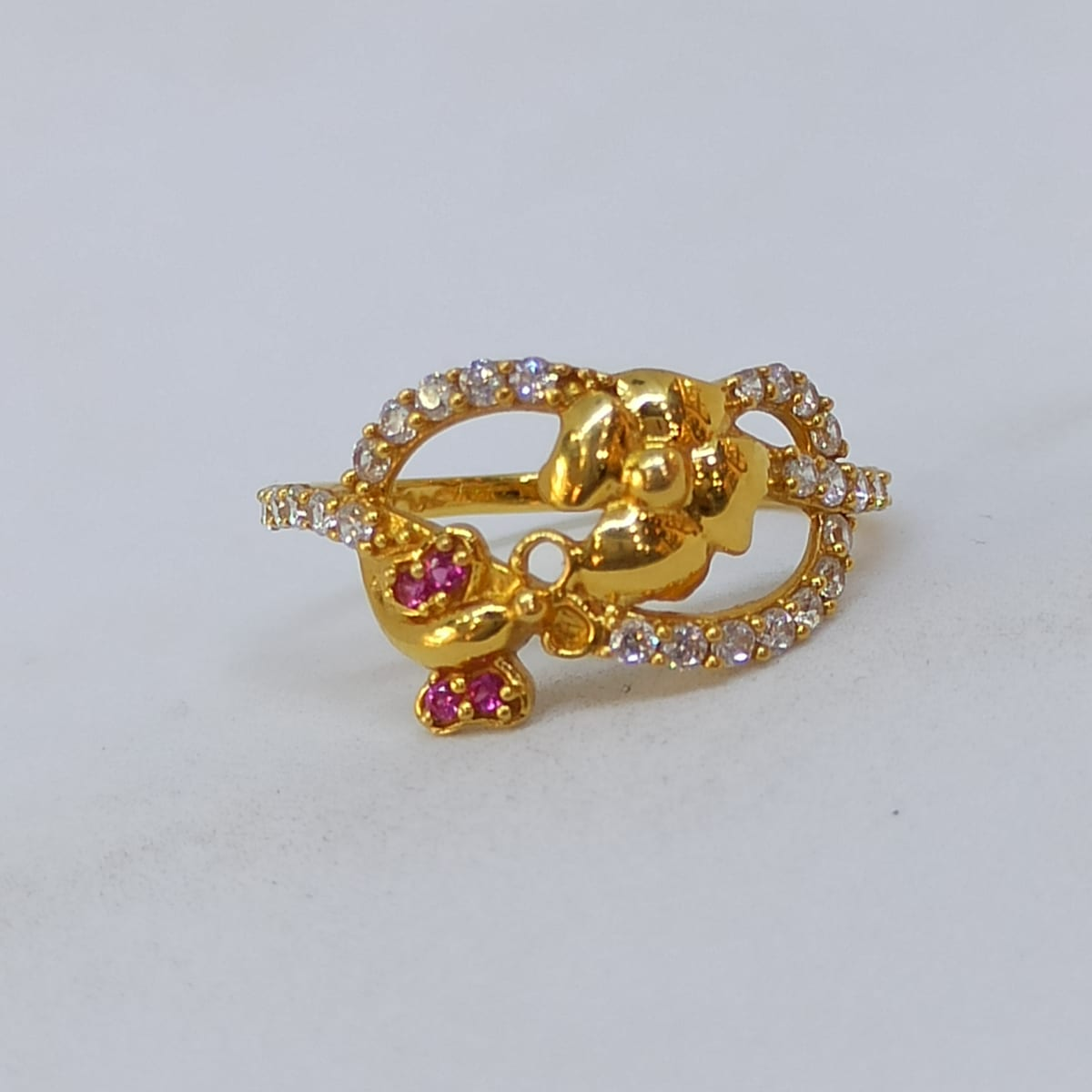 Floral Cz Colorstone Finger Ring