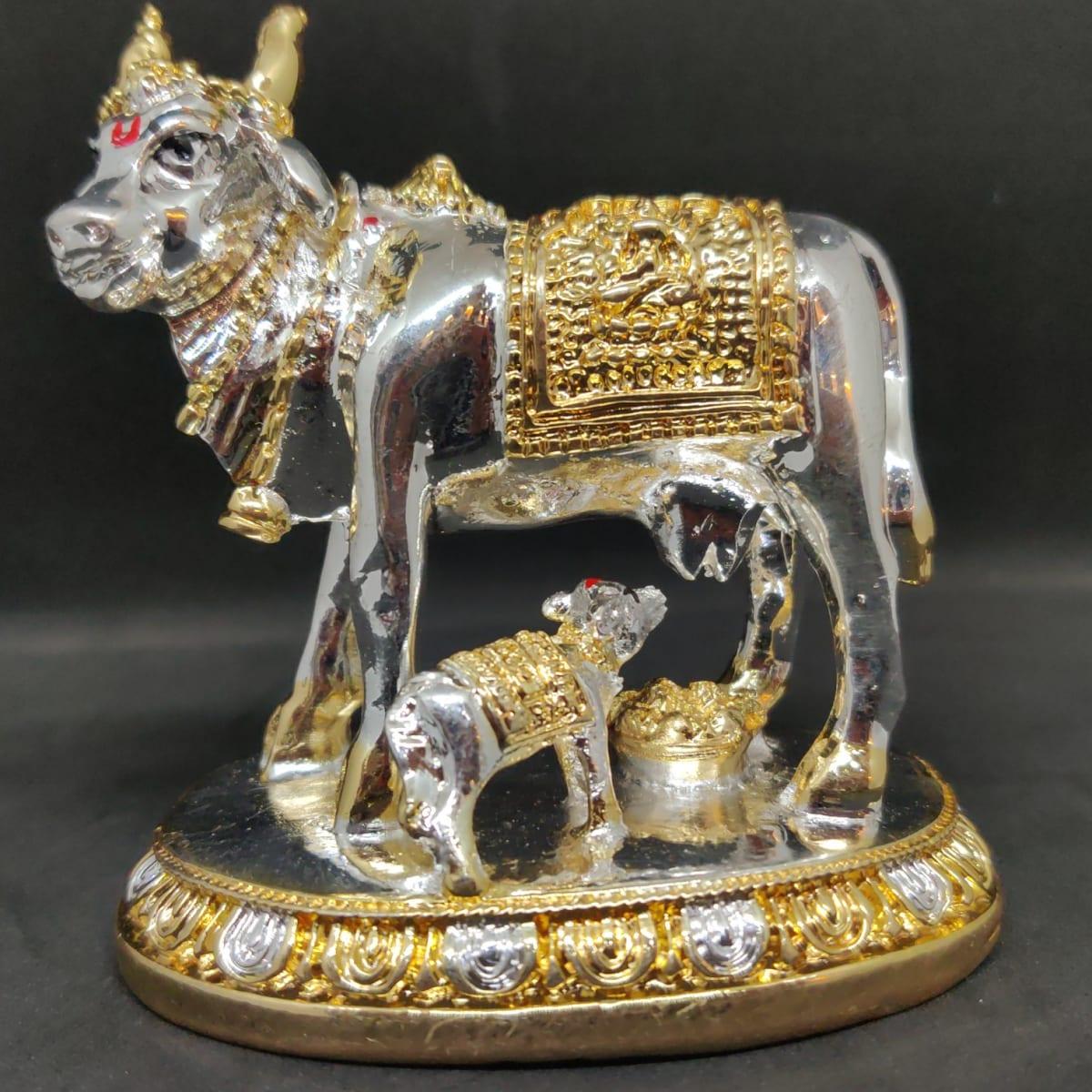 Silver Sprayed Gomatha Idol