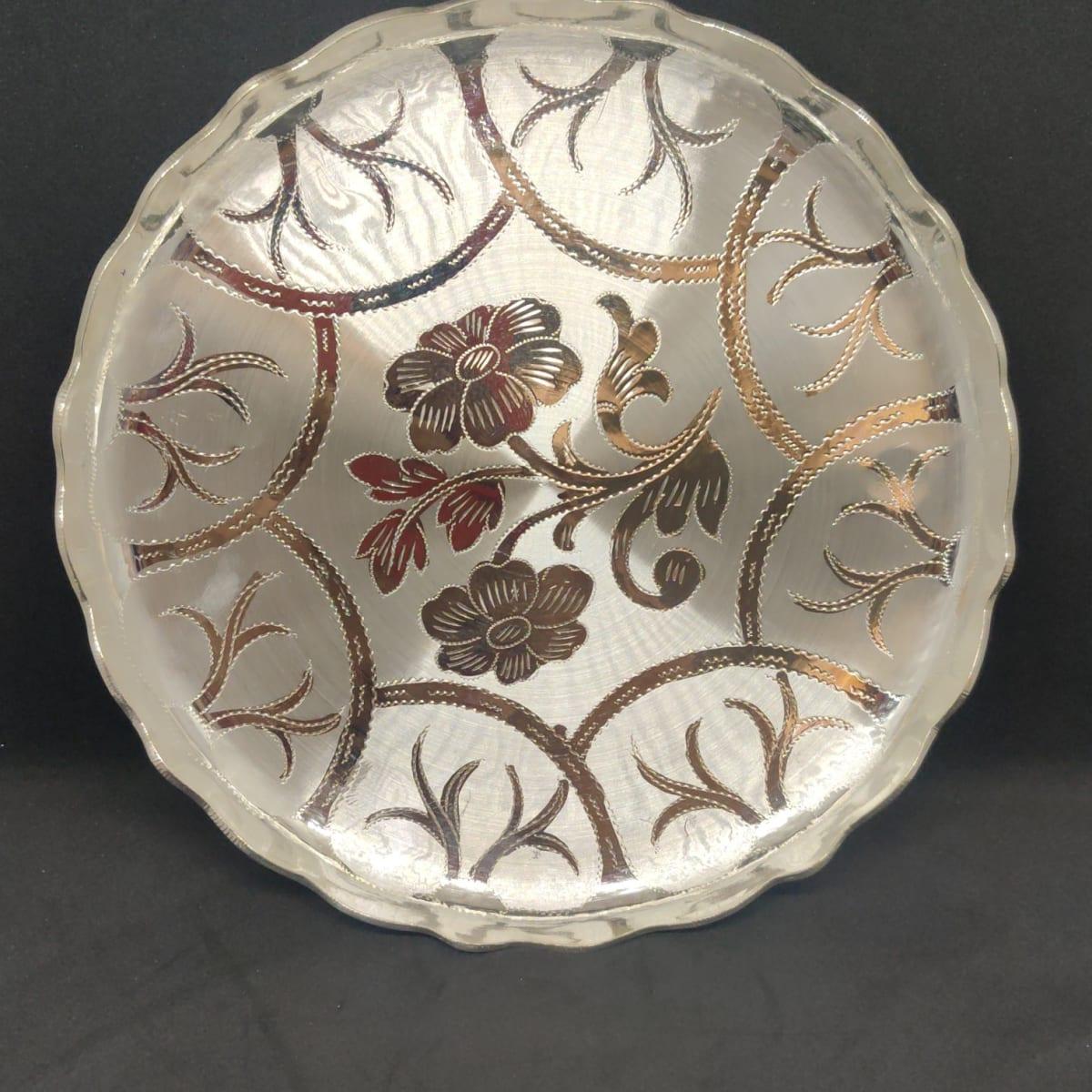 Shading Engraving Mangalam Kalam  Silver Meals Plate