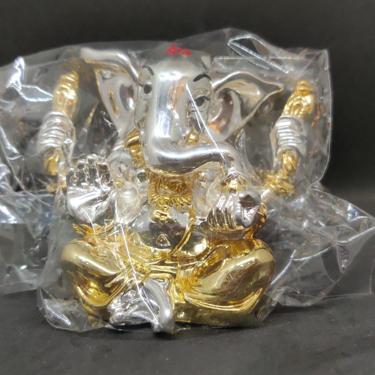 Silver Sprayed Ganesh Idol