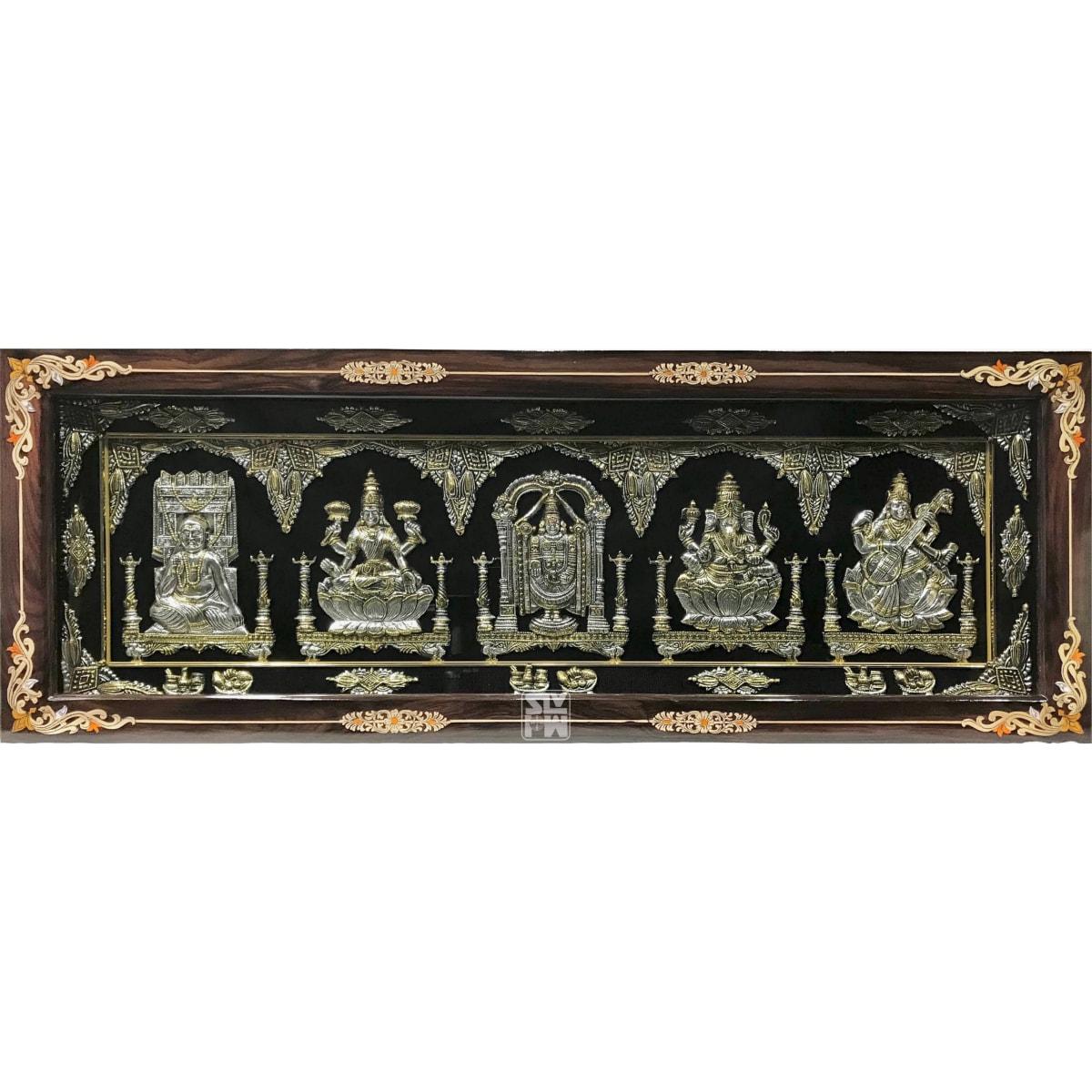 15x41 Raghavendra Lakshmi Balaji Ganesha Saraswati Antique Finish