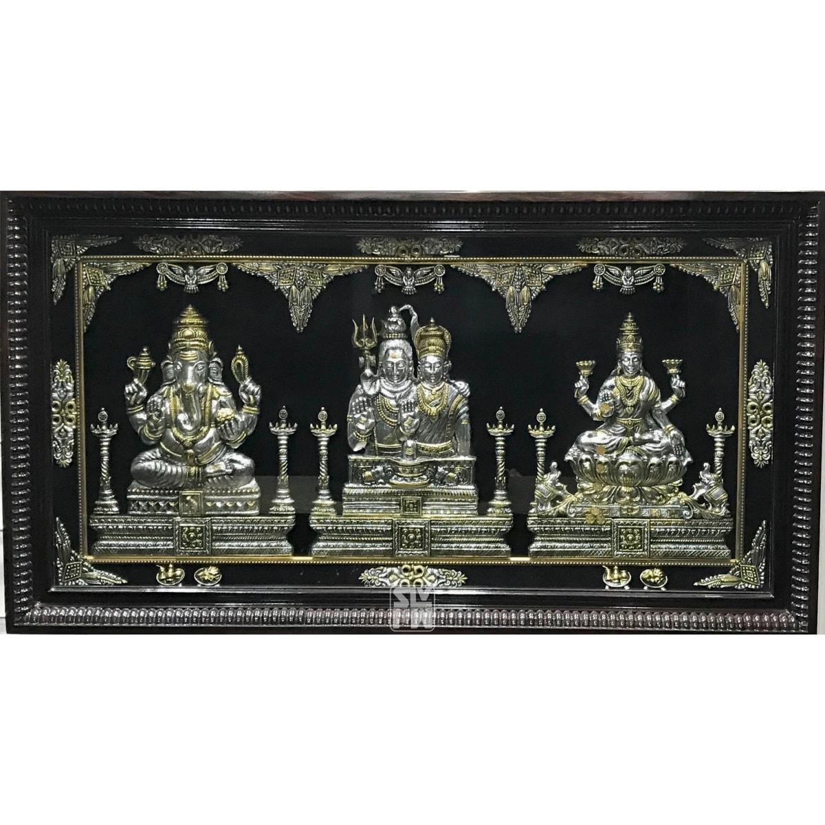24x44 Ganesha Eshwara Parvati Lakshmi Antique Finish