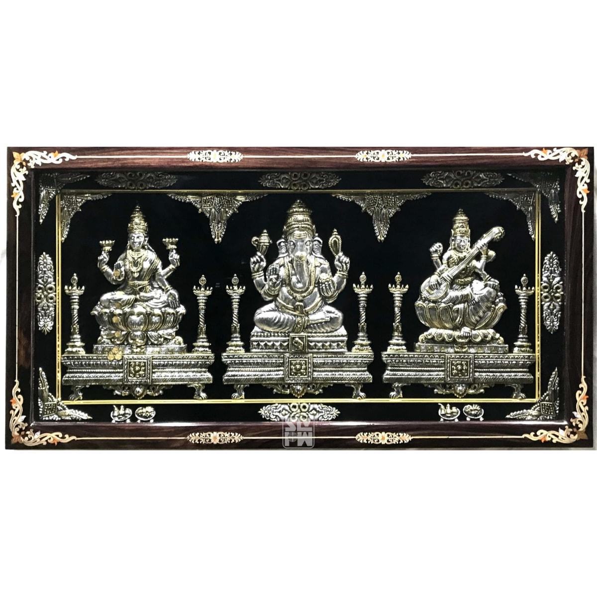 22x42 Lakshmi Ganesha Saraswati Antique Finish