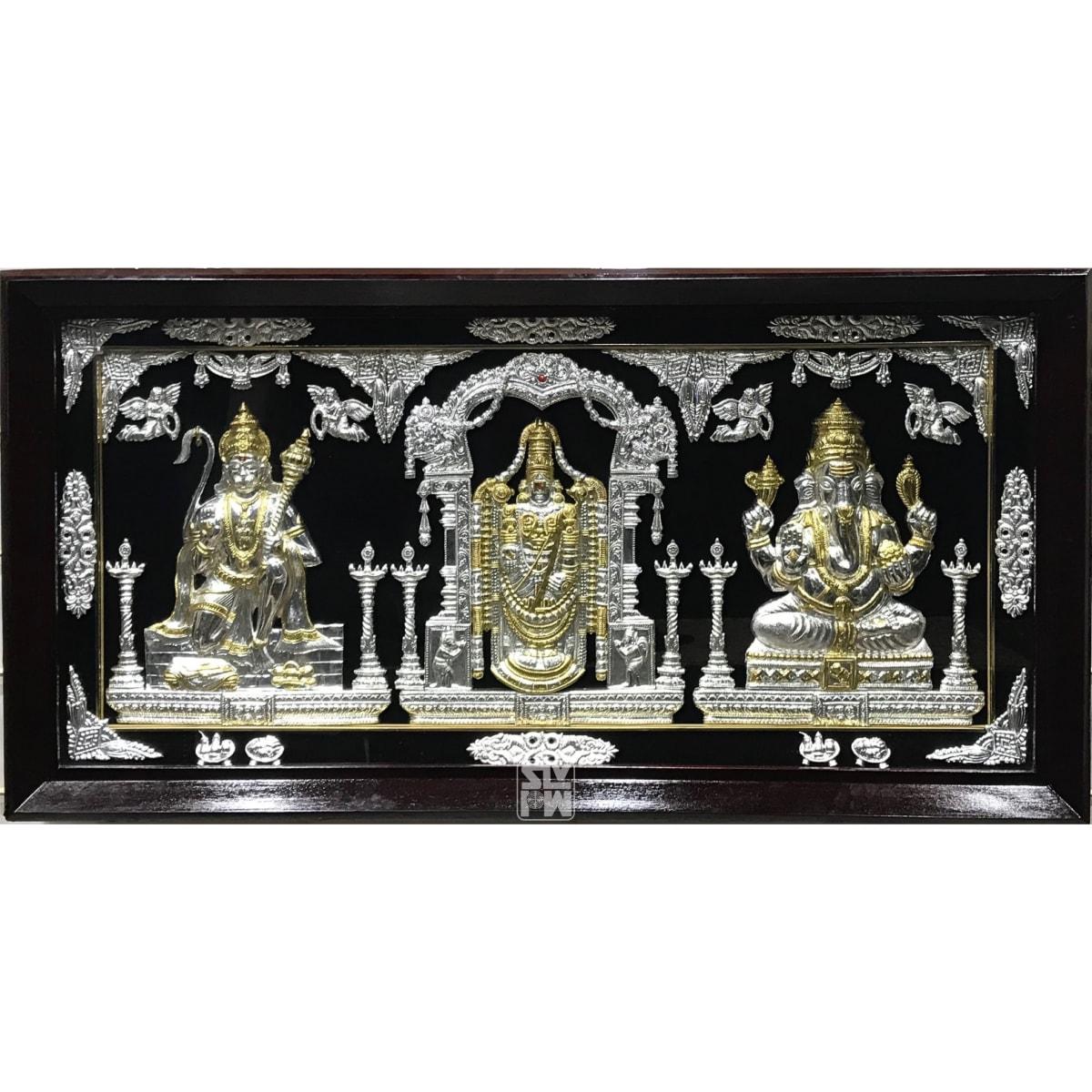22x42 Hanuman Balaji Ganesha Gold Polish