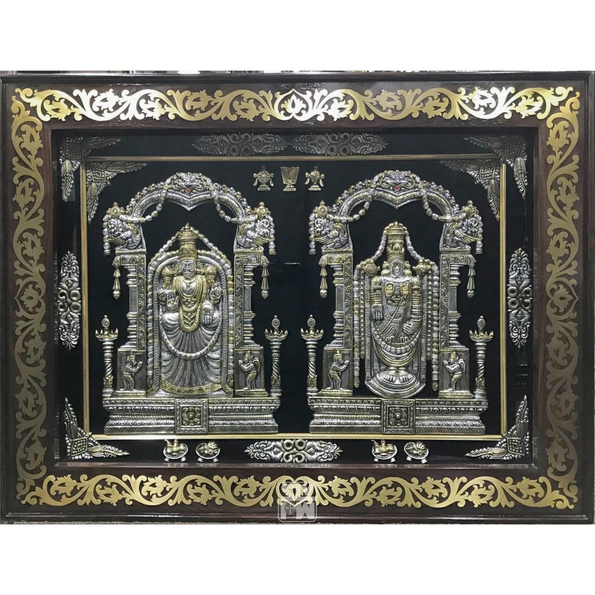 26x34 Balaji Padmavathi Antique Finish Brass Frame
