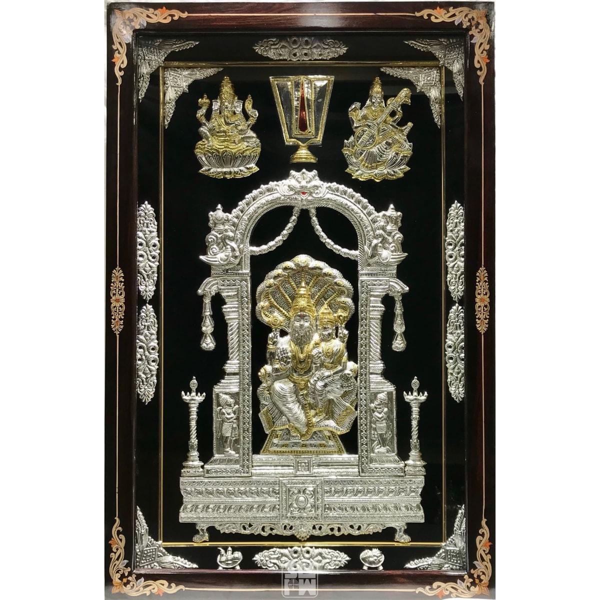 22x36 Lakshmi Narasimha Ganesha Saraswati Gold Polish