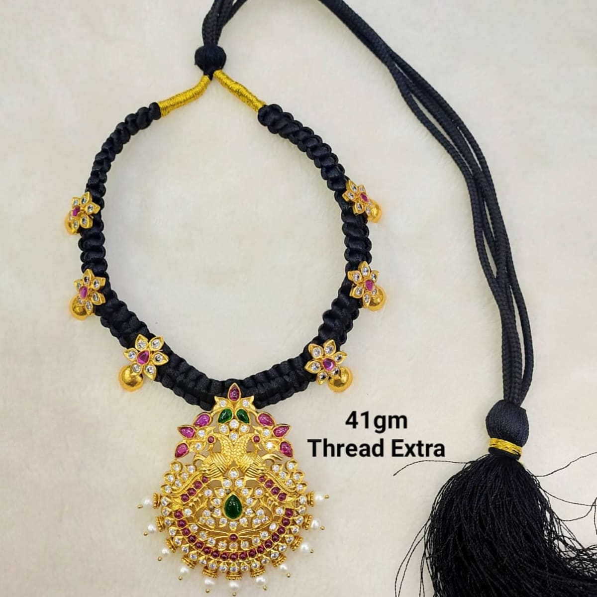 Silver Gold Plated Thread Necklace