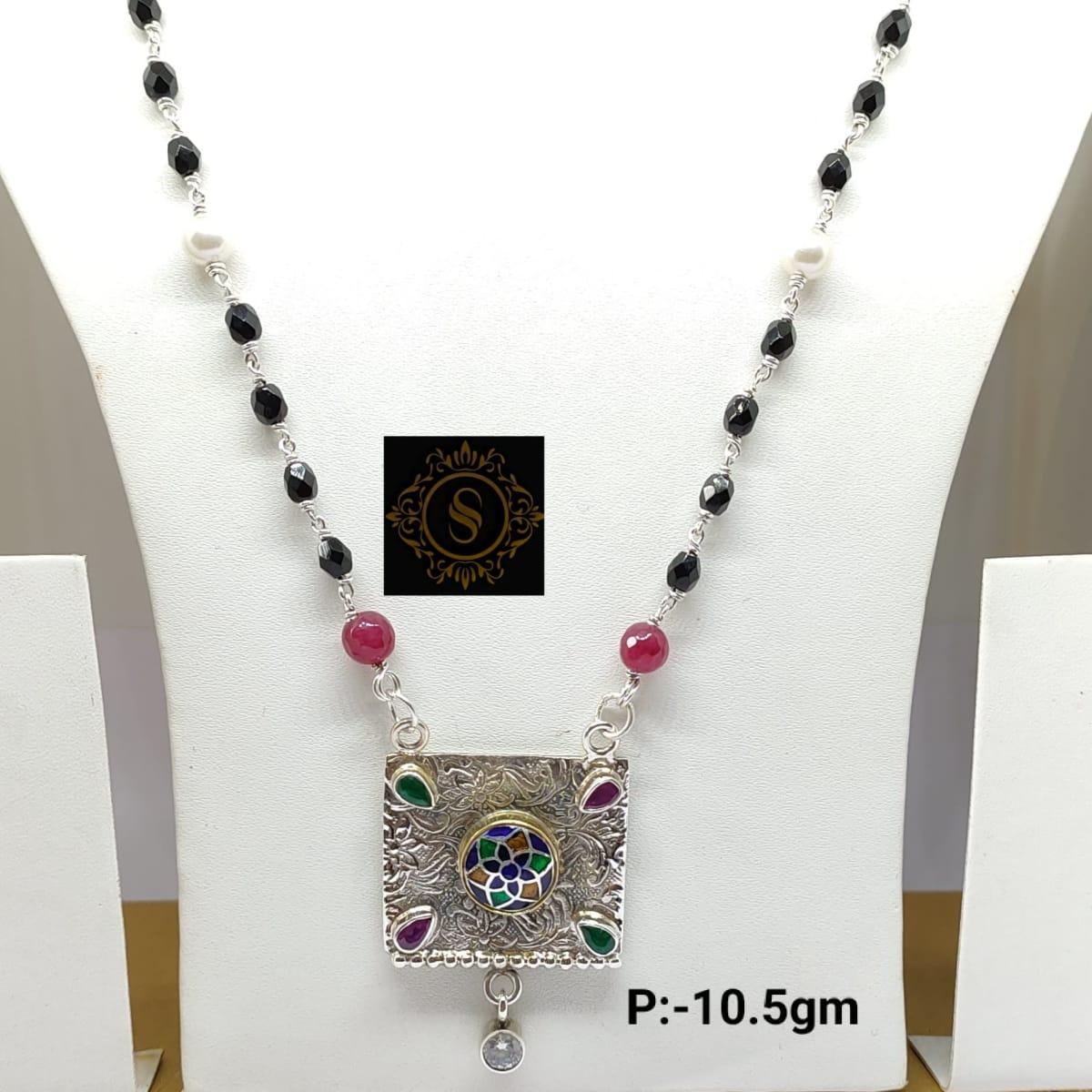 925 2yon 925 2tone Silver Mangalsutra Pendant With Enamel