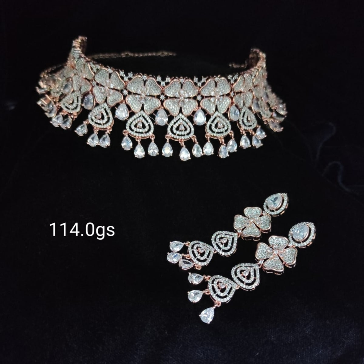 Cz Rose Gold Plated  Silver Choker